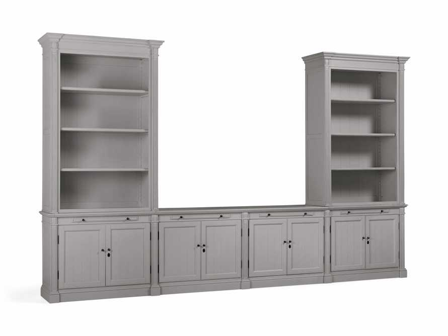 Athens Modular Media Console with Double Bookcases in Stratus, slide 3 of 5