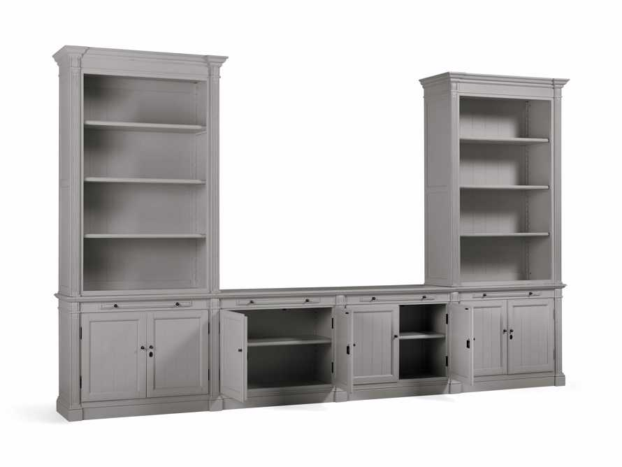 Athens Modular Media Console with Double Bookcases in Stratus, slide 4 of 5