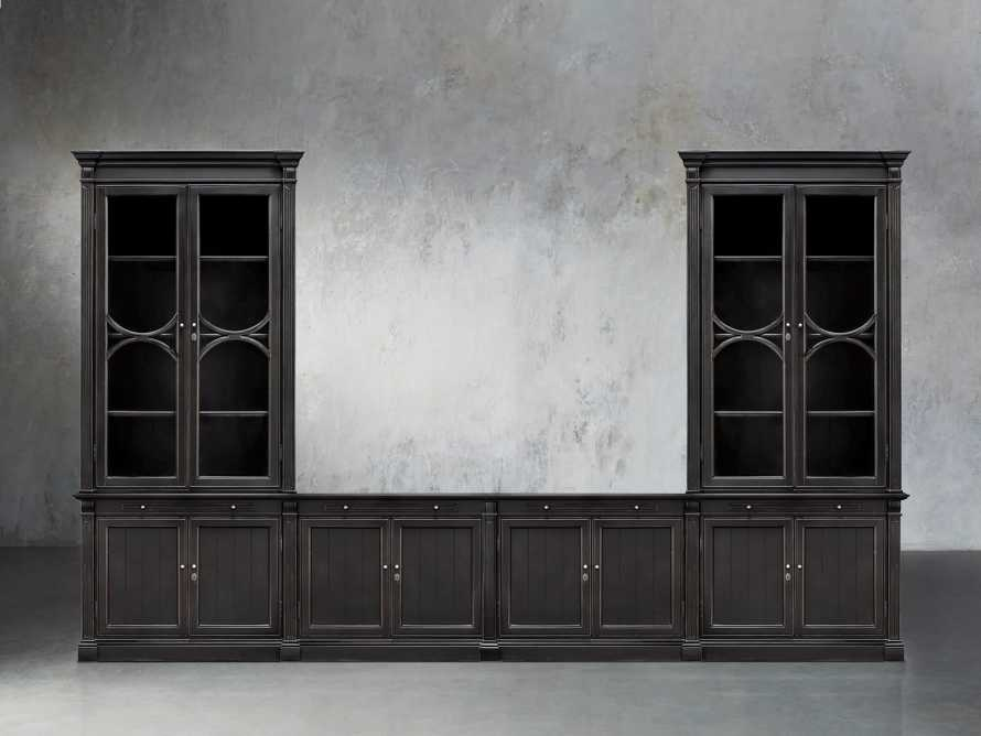 Athens Modular Media Console with Double Display Cabinets in Tuxedo Black