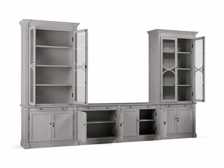 Athens Modular Media Console with Double Display Cabinets in Stratus, slide 4 of 5