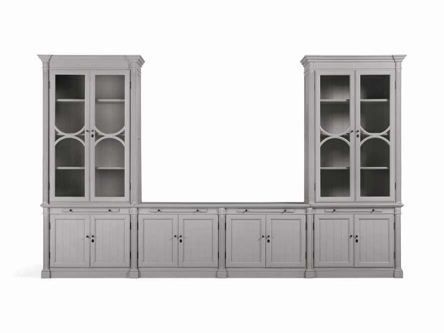 Athens Modular Media Console with Double Display Cabinets in Stratus, slide 2 of 5