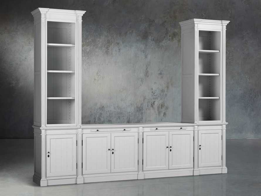Athens Modular Media Console with Double Narrow Bookcases in Nimbus, slide 3 of 7