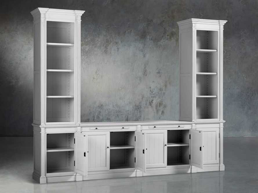 Athens Modular Media Console with Double Narrow Bookcases in Nimbus, slide 4 of 7