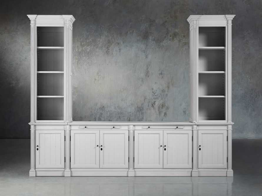Athens Modular Media Console with Double Narrow Bookcases in Nimbus, slide 2 of 7