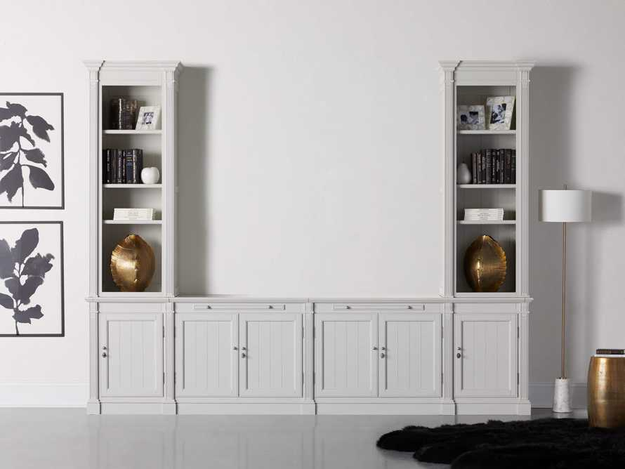 Athens Modular Media Console with Double Narrow Bookcases in Nimbus, slide 1 of 7