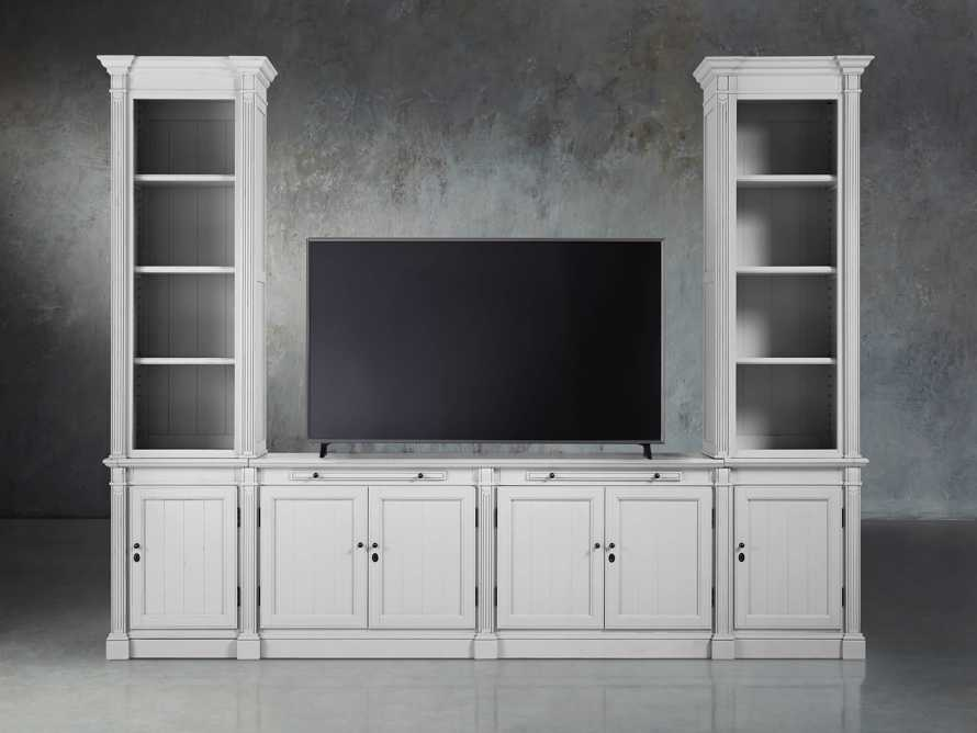 Athens Modular Media Console with Double Narrow Bookcases in Nimbus, slide 5 of 7
