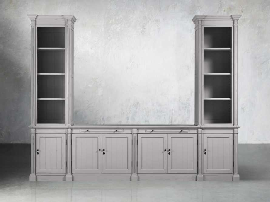 Athens Modular Media Console with Double Narrow Bookcases in Stratus, slide 1 of 5