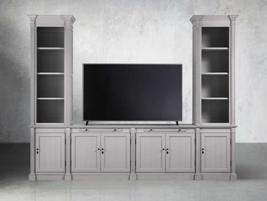 Athens Modular Media Console with Double Narrow Bookcases in Stratus, slide 5 of 5