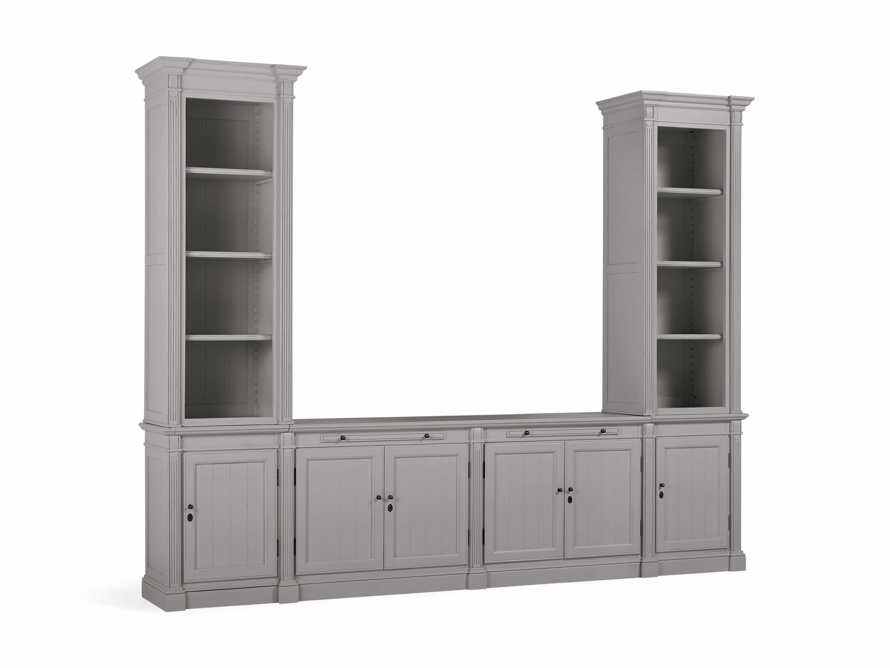 Athens Modular Media Console with Double Narrow Bookcases in Stratus, slide 3 of 5