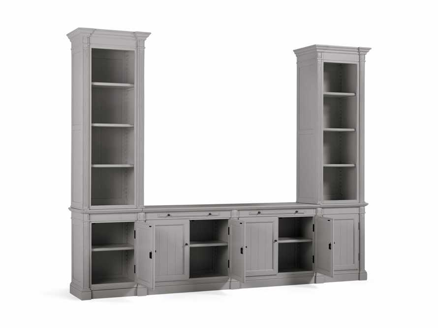 Athens Modular Media Console with Double Narrow Bookcases in Stratus