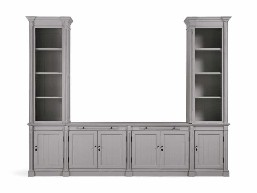 Athens Modular Media Console with Double Narrow Bookcases in Stratus, slide 2 of 5