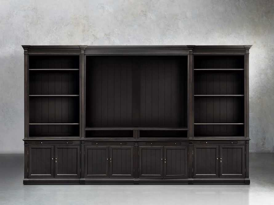 Athens Modular Media Cabinet With Double Bookcases in Tuxedo Black