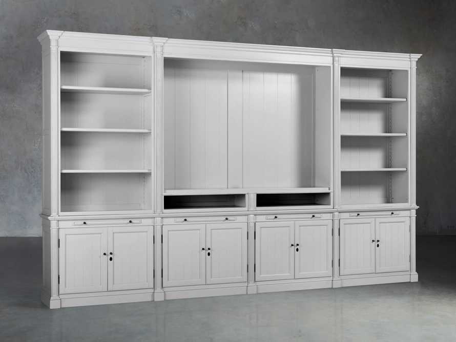Athens Modular Media Cabinet With Double Bookcases in Nimbus