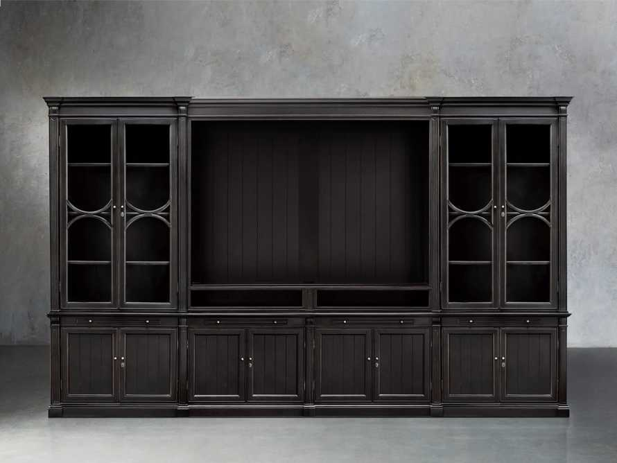 Athens Modular Media Cabinet With Double Display Cabinets in Tuxedo Black, slide 1 of 3