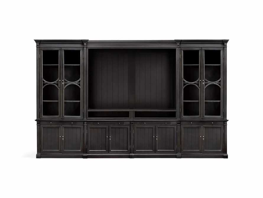 Athens Modular Media Cabinet With Double Display Cabinets in Tuxedo Black, slide 3 of 3