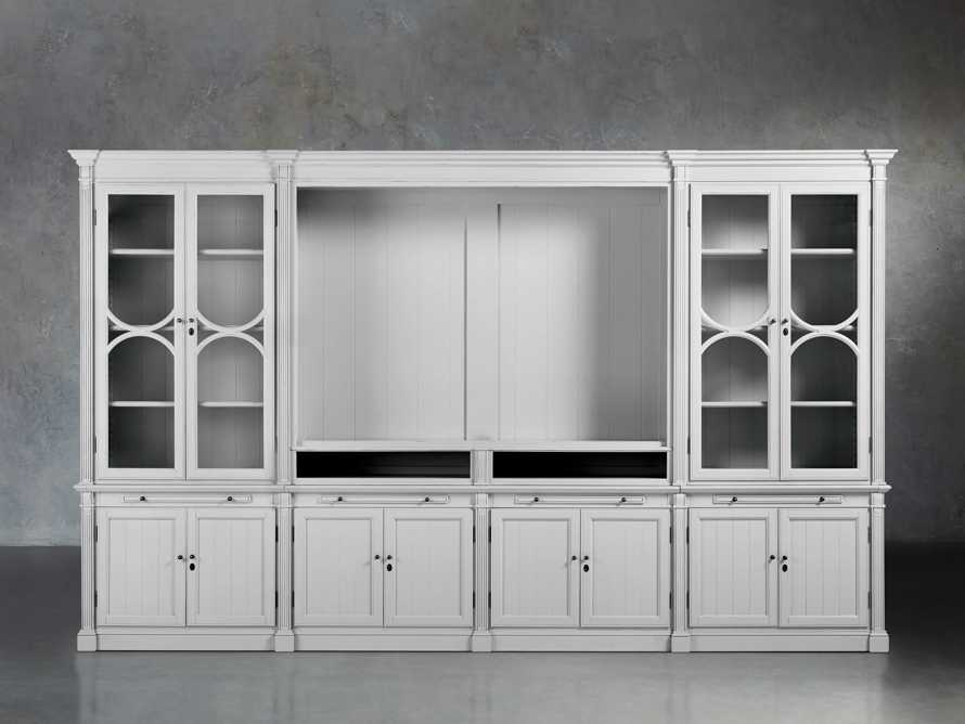 Athens Modular Media Cabinet With Double Display Cabinets in Nimbus