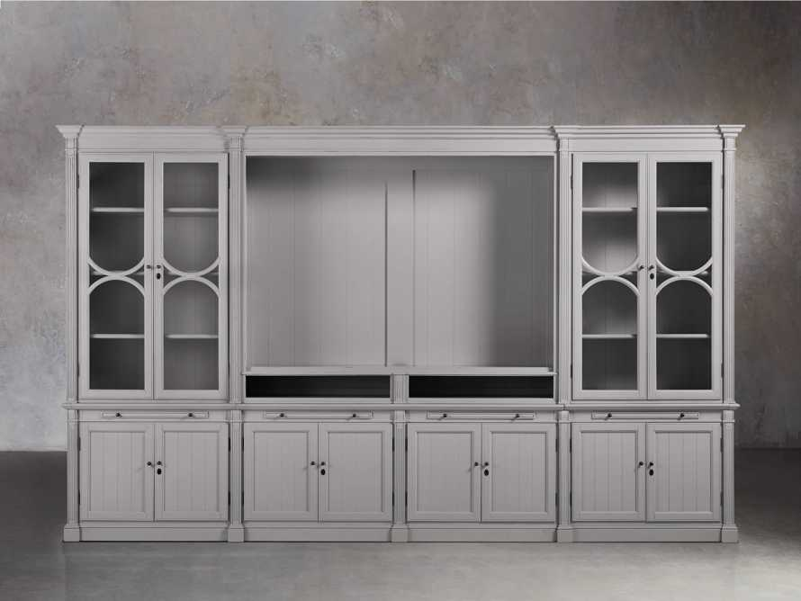Athens Modular Media Cabinet with Double Display Cabinets in Stratus, slide 1 of 5