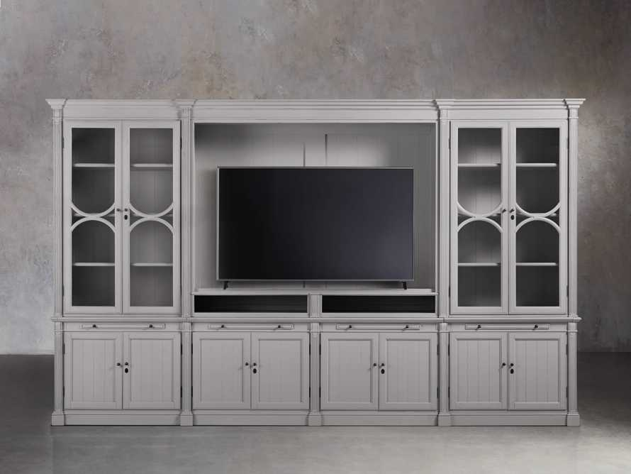 Athens Modular Media Cabinet with Double Display Cabinets in Stratus, slide 5 of 5