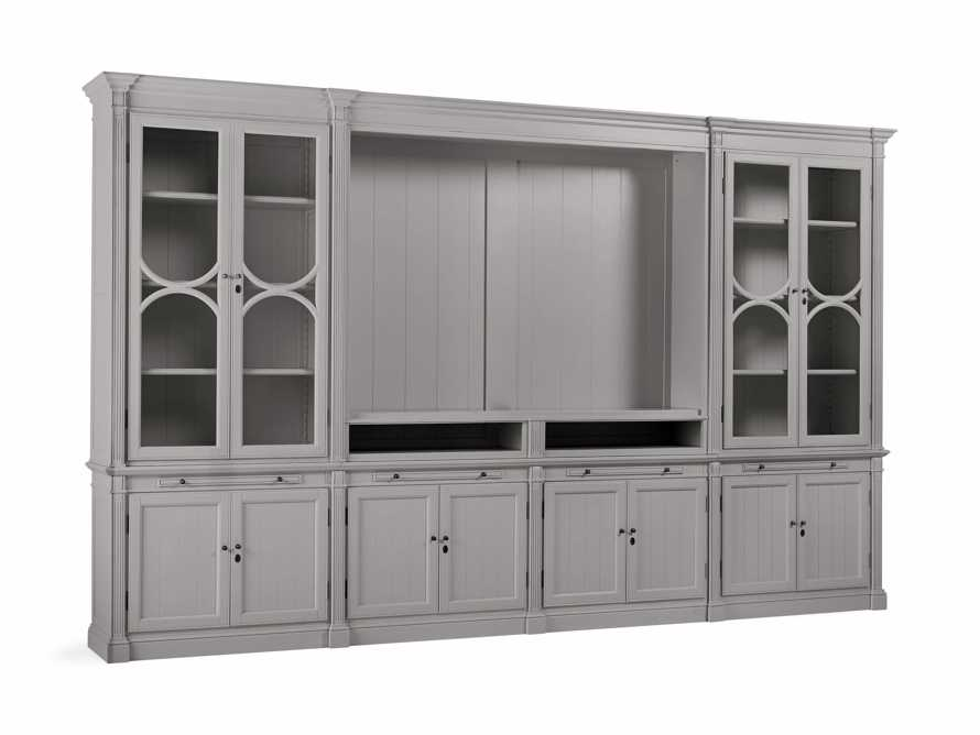 Athens Modular Media Cabinet with Double Display Cabinets in Stratus, slide 3 of 5