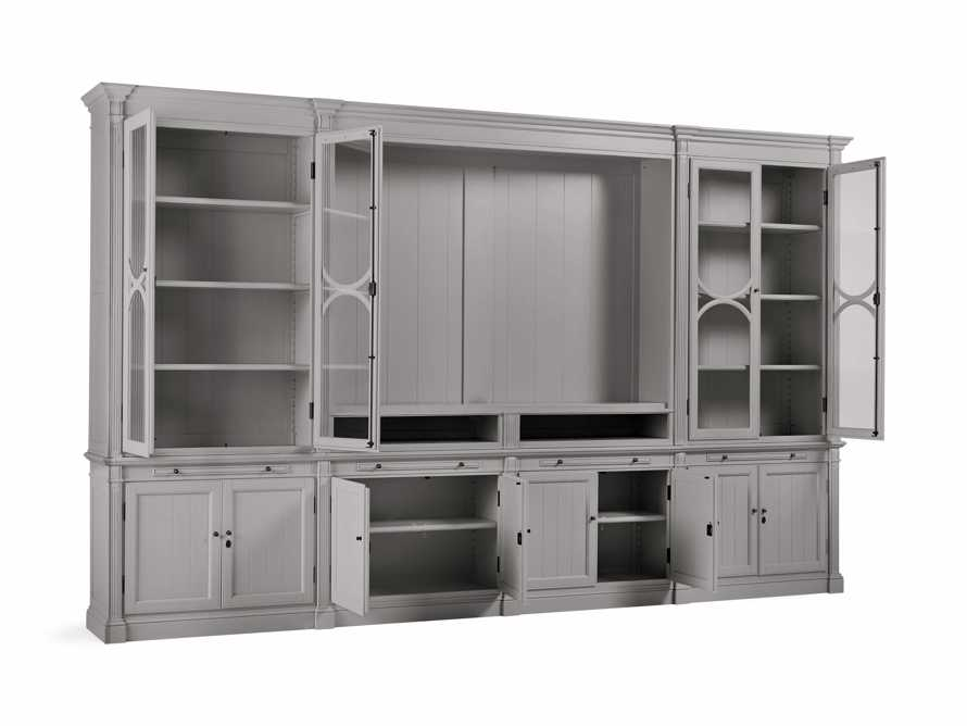 Athens Modular Media Cabinet with Double Display Cabinets in Stratus, slide 4 of 5