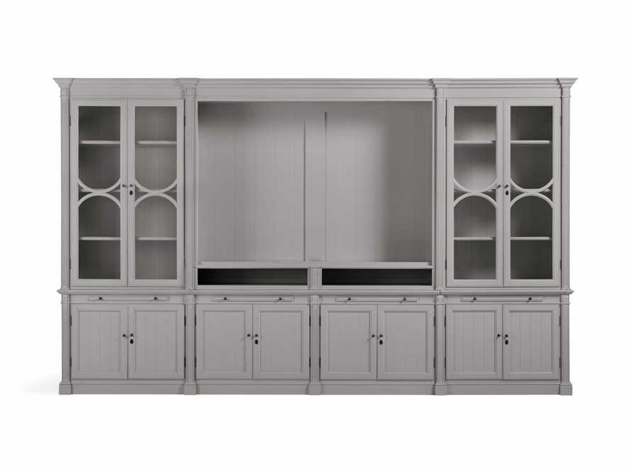 Athens Modular Media Cabinet with Double Display Cabinets in Stratus, slide 2 of 5