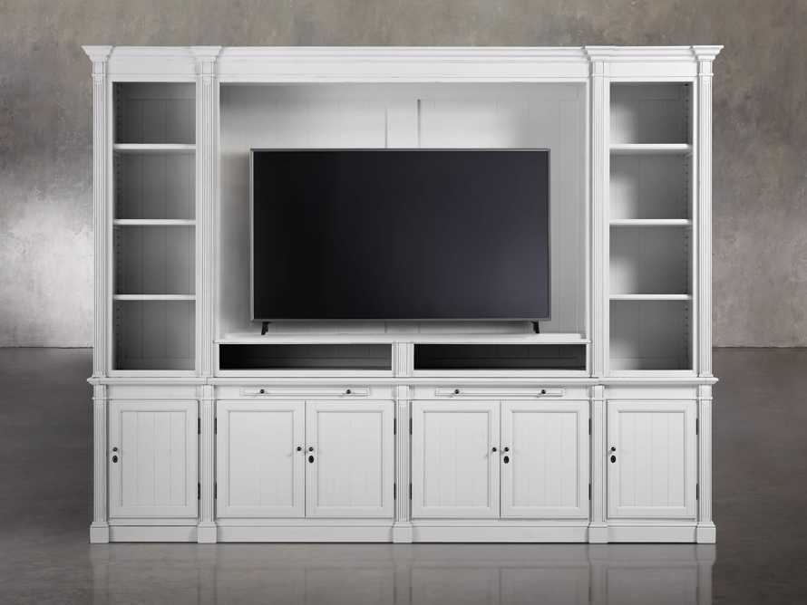 Athens Modular Media Cabinet With Double Narrow Bookcases in Nimbus, slide 4 of 6