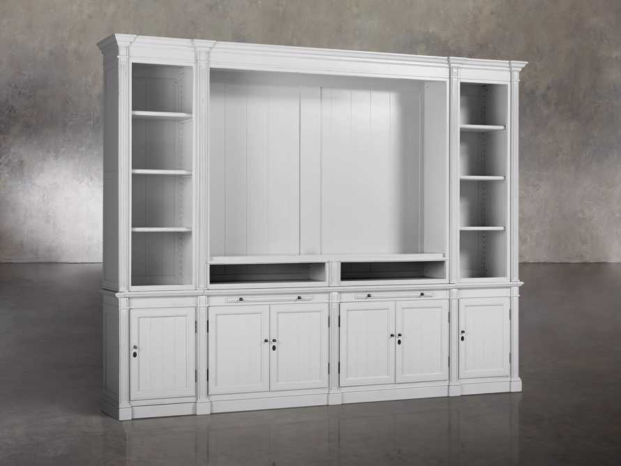 Athens Modular Media Cabinet With Double Narrow Bookcases in Nimbus, slide 2 of 6