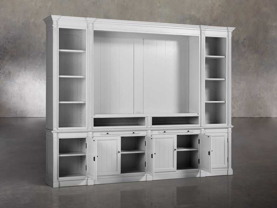 Athens Modular Media Cabinet With Double Narrow Bookcases in Nimbus, slide 3 of 6