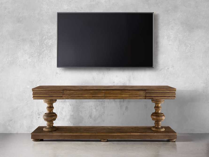 """Chorus Theory 95"""" TV Console in Barnwood Natural, slide 2 of 3"""