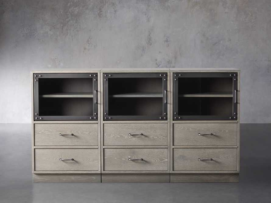 "Curiosity 66"" Display Media Wall Unit in Pebble Grey, slide 1 of 4"