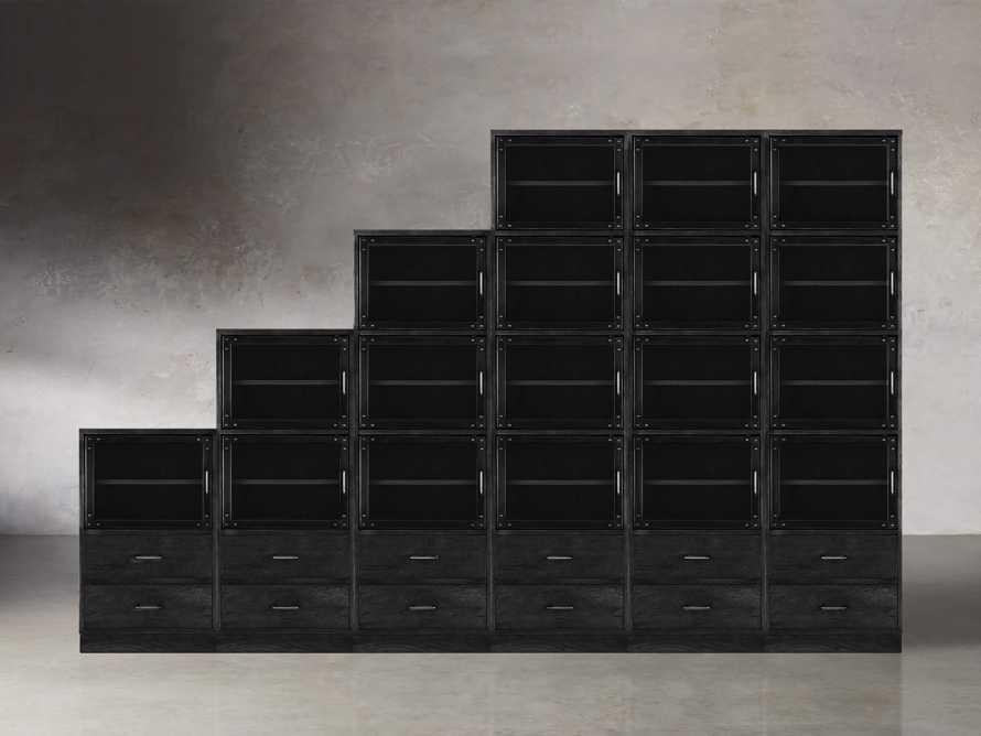 "Curiosity 132"" Ascending Wall Unit In Black, slide 1 of 2"