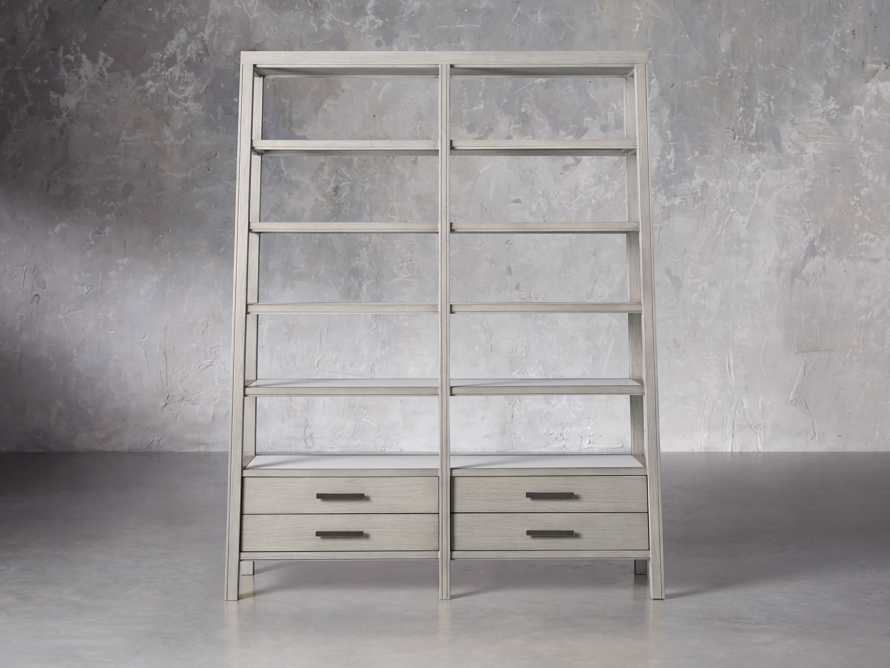 "Euclid 64.25"" Double Bookcase in Boulder Grey, slide 1 of 5"
