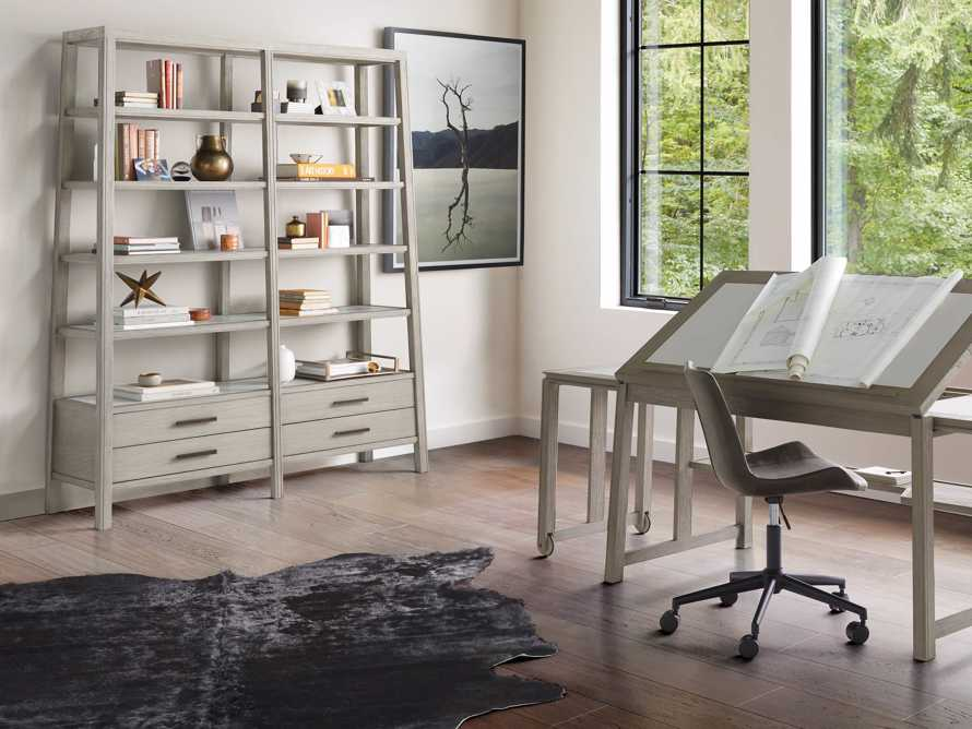 "Euclid 64.25"" Double Bookcase in Boulder Grey, slide 4 of 5"