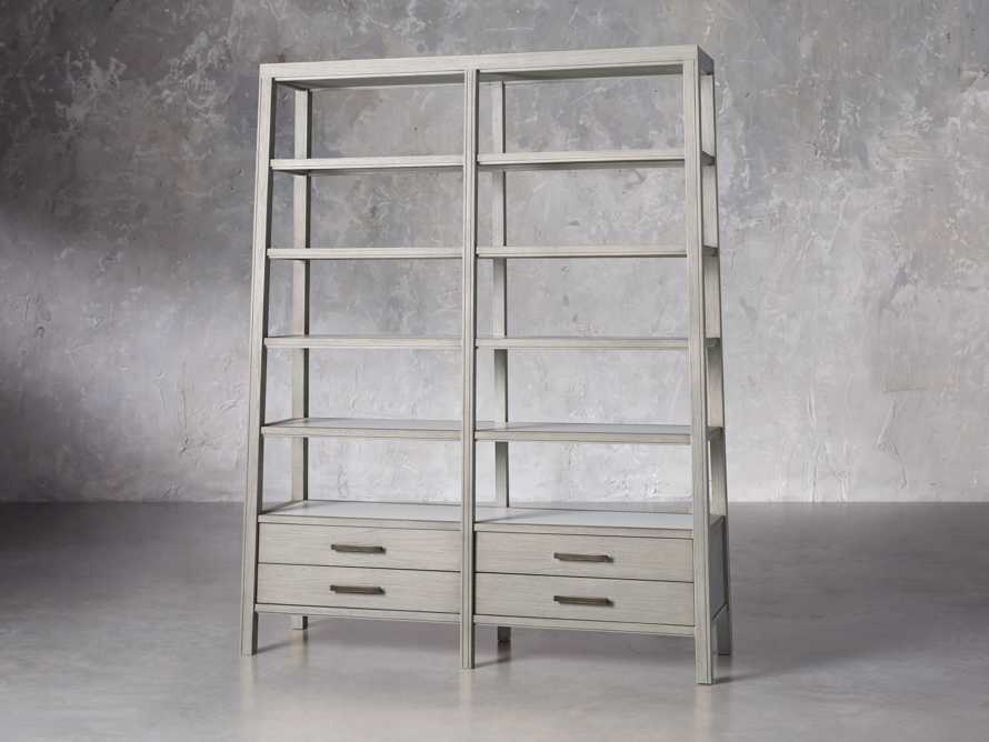 "Euclid 64.25"" Double Bookcase in Boulder Grey, slide 2 of 5"