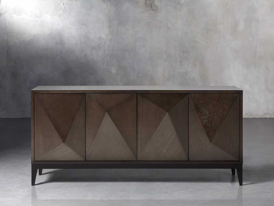 Geometric Media Cabinet in Jepara Espresso