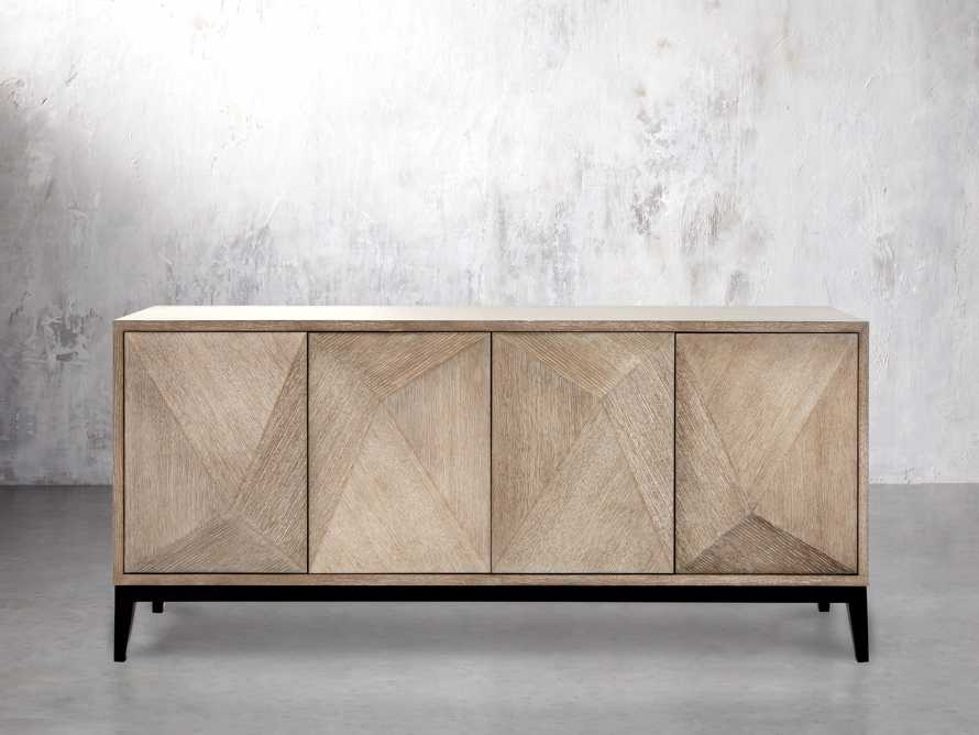 "Geometric 69"" Media Cabinet in Jepara Natural, slide 2 of 9"