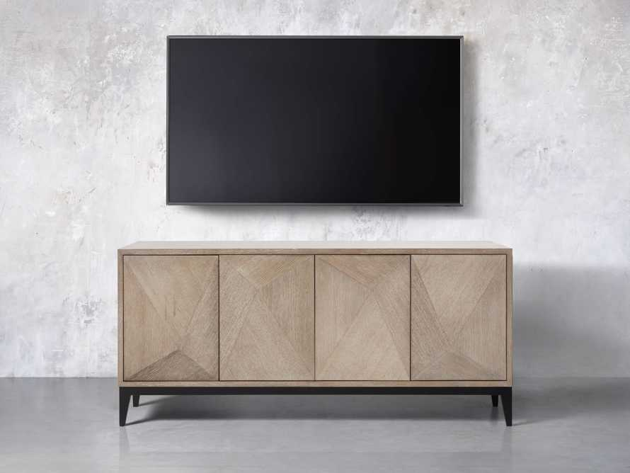 "Geometric 69"" Media Cabinet in Jepara Natural, slide 3 of 9"