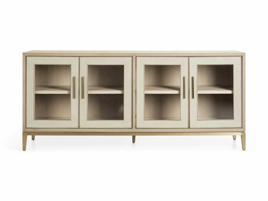 "Malone 71"" Media Console with Glass Doors in Shagreen Bone, slide 9 of 10"
