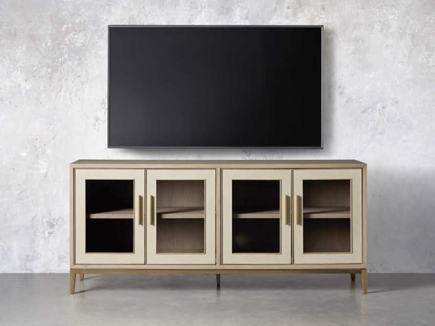 "Malone 71"" Media Console with Glass Doors in Shagreen Bone, slide 5 of 10"