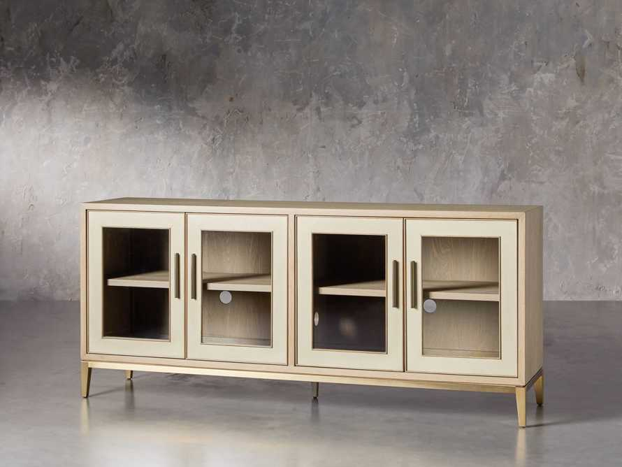 "Malone 71"" Media Console with Glass Doors in Shagreen Bone, slide 2 of 10"