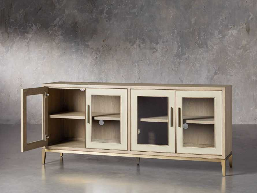 "Malone 71"" Media Console with Glass Doors in Shagreen Bone, slide 3 of 10"