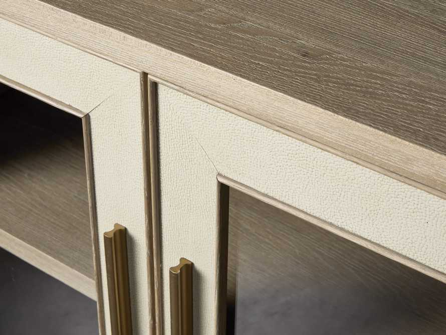 "Malone 71"" Media Console with Glass Doors in Shagreen Bone, slide 6 of 10"