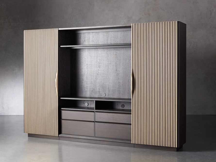 "Newton 127"" Wall Unit with Oak Doors, slide 3 of 10"