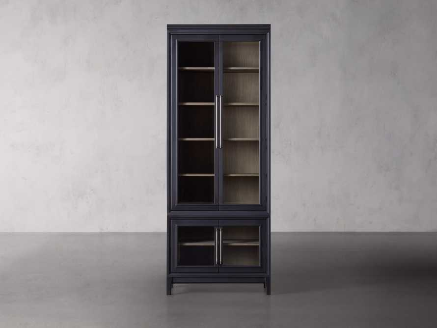 Rowan Beveled Glass-Double Door Cabinet in Black, slide 1 of 3