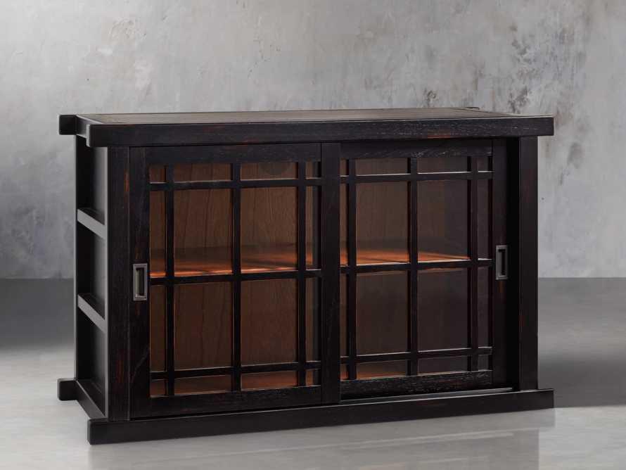 "Spencer 48"" Bookcase with Glass Doors In Spencer Black, slide 2 of 5"