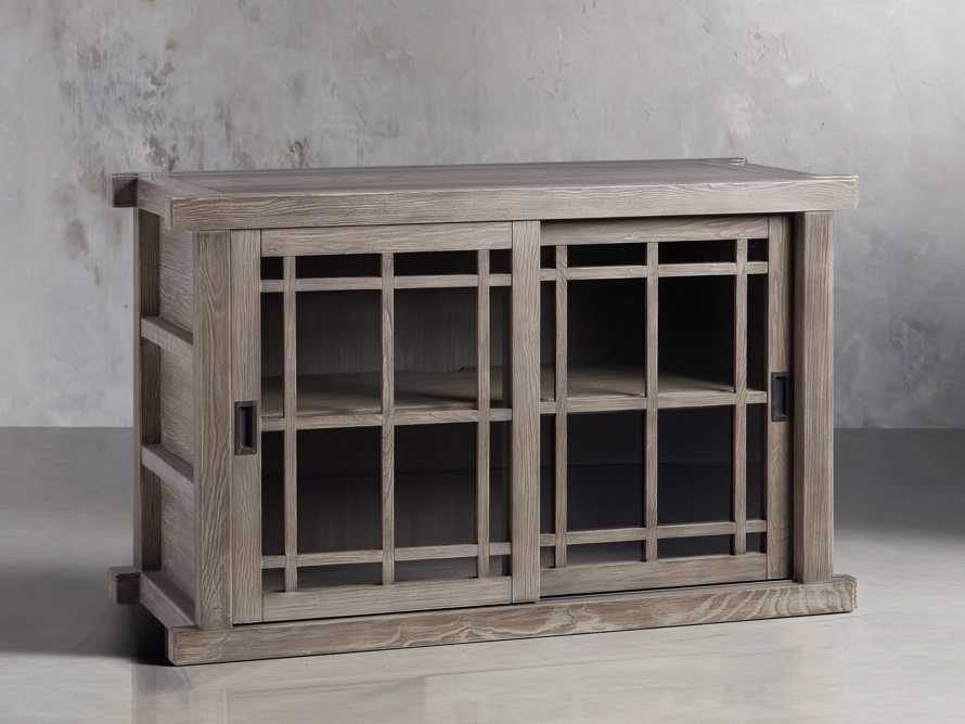"""Spencer 48"""" Bookcase with Glass Doors in Stone on Ash"""