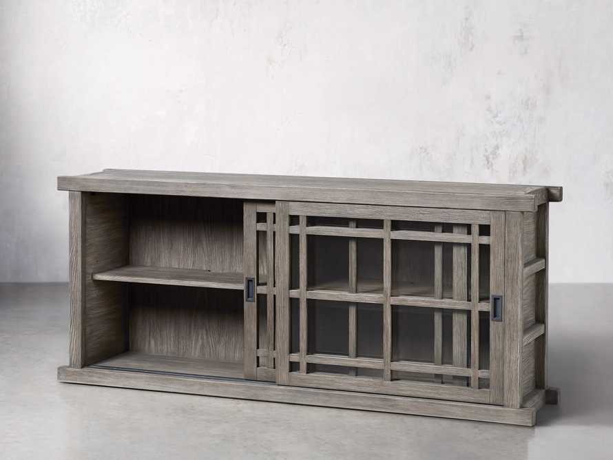 "Spencer 71"" Bookcase with Glass Doors in Stone on Ash, slide 3 of 8"