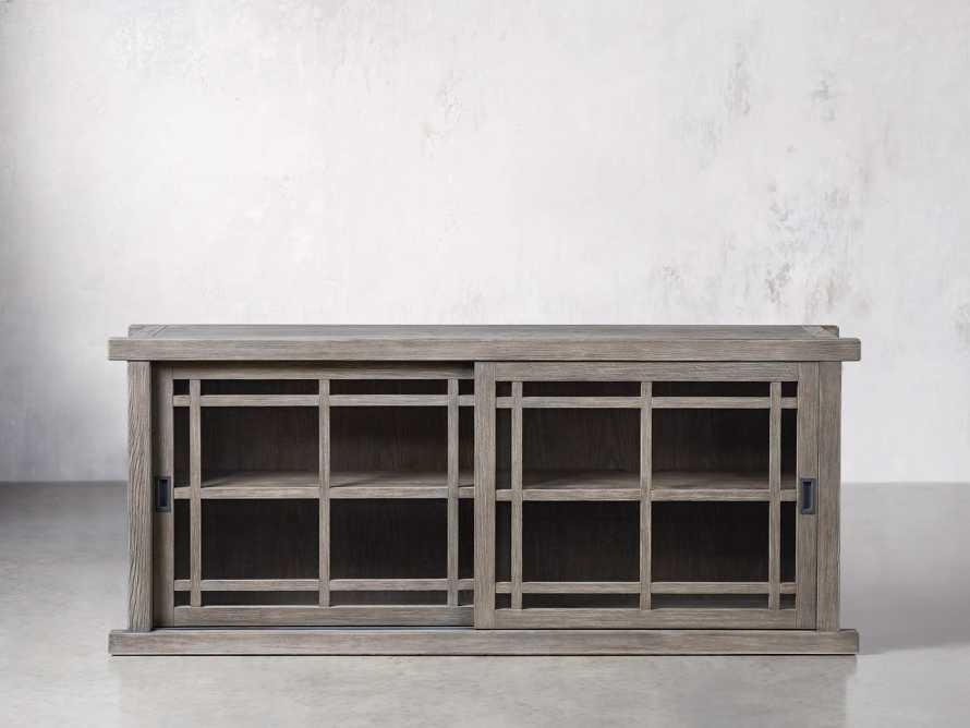 "Spencer 71"" Bookcase with Glass Doors in Stone on Ash, slide 1 of 8"