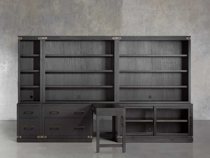 "Tremont Modular 140"" Library Workspace in Dry Branch Black, slide 1 of 3"