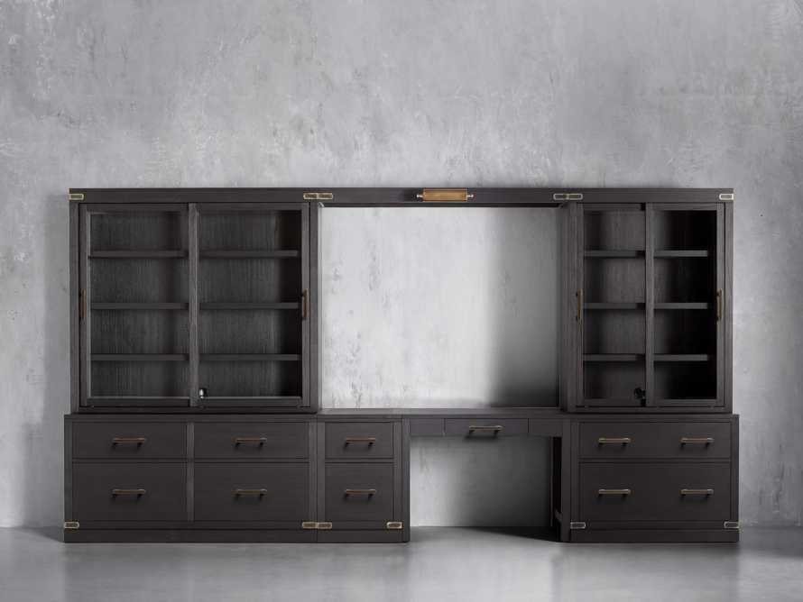 "Tremont Modular 160"" Wall Desk Unit in Dry Branch Black, slide 1 of 2"